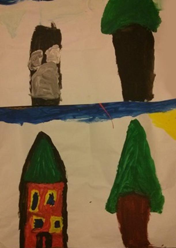 בית של ילד בן 8 בתחילת תהליך טיפולי, ובמהלכו (כעבור חצי שנה)